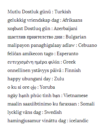 Friendshipday in many different languages