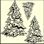 christmas tree rubber stamps for card making