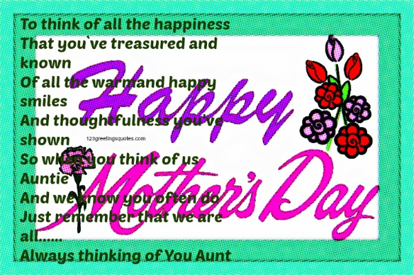 Beautiful Mother's Day 2015 Poems for Aunts