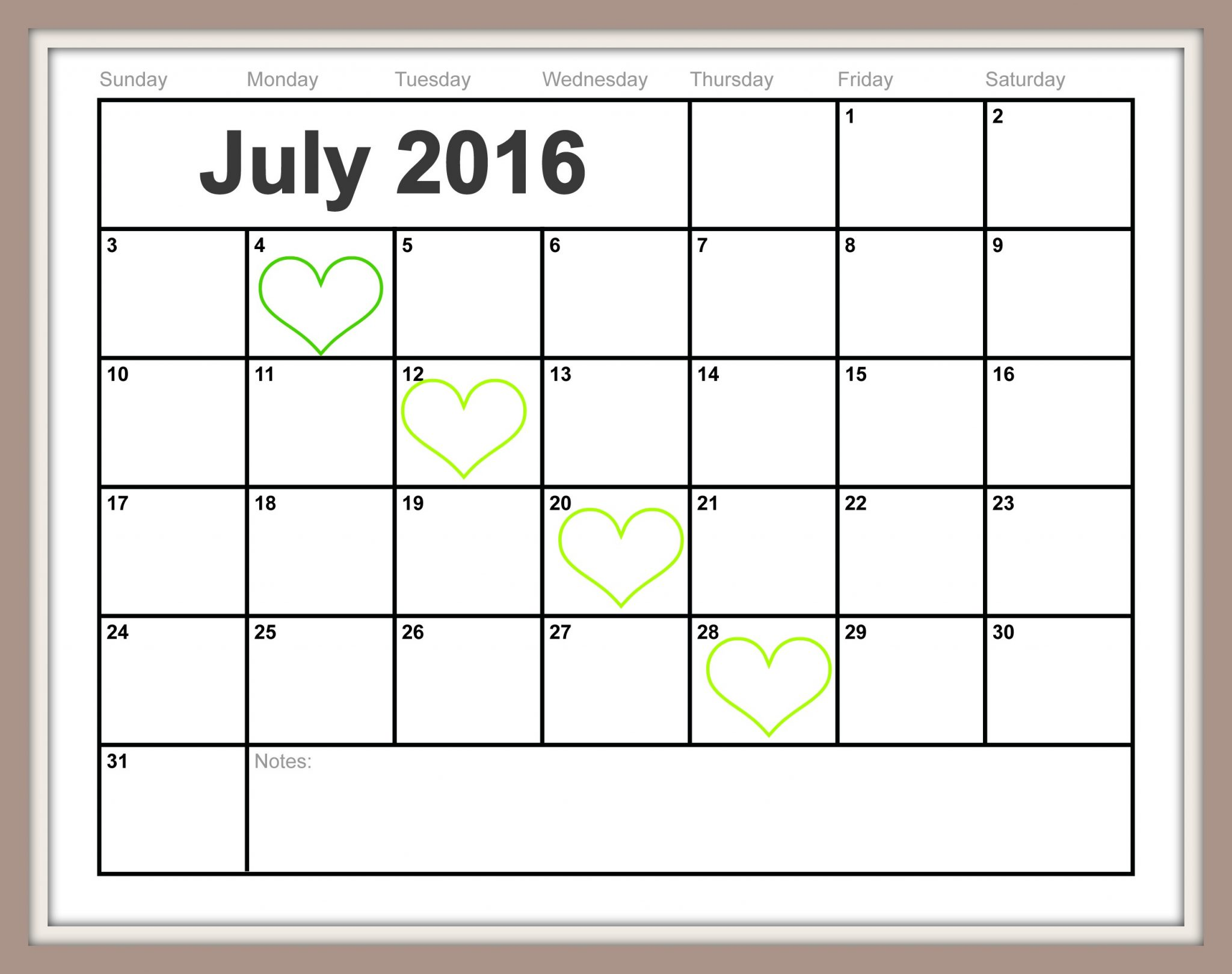 2016 Julian Calendar Free Printable July Calendar {Easy-Print