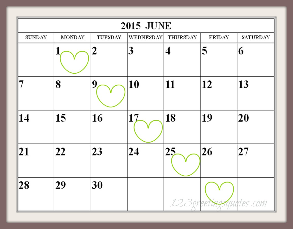 Printable June 2015 Calendar PDF Download