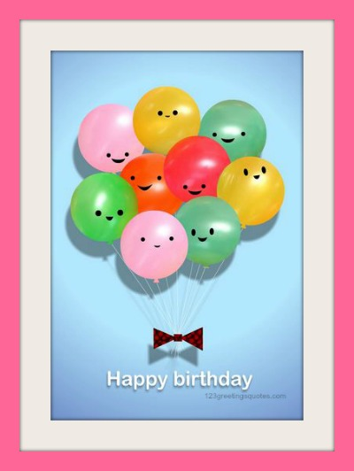 free printable birthday cards for kids with baloons and smileys