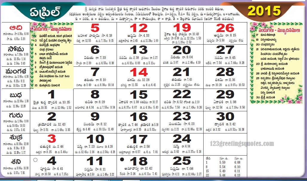 telugu calender April 2015