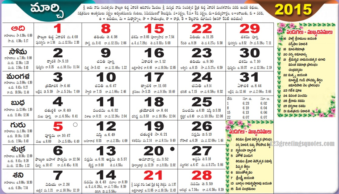 telugu calender March 2015
