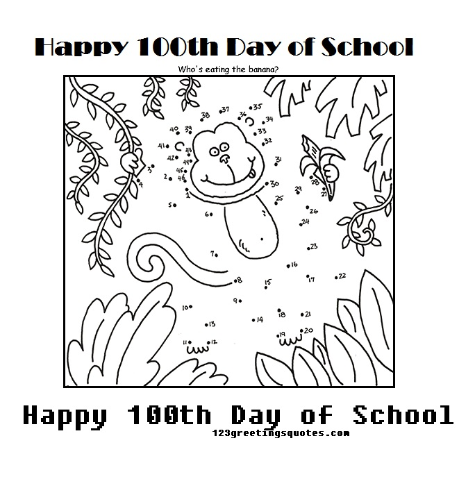 100th day of school coloring pages activity for kids