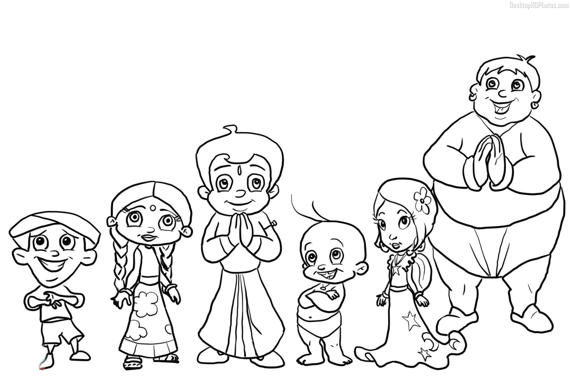 Online Coloring Chota Bheem : Chota bheem coloring pages to print sketch