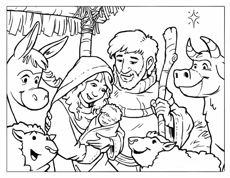 Bible story kids christmas coloring pages to print