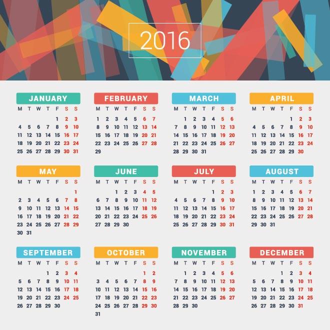 Printable New Year 2016 Calendar - Hindu Chinese Telugu Tamil Bengali Islamic
